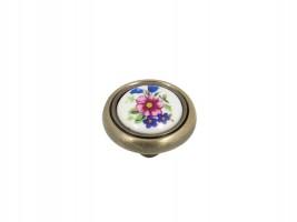 Метална дръжка с керамика - синьо цвете 3350 1