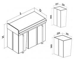Кош за вграждане горно изтегляне с планка 20L+10L 3