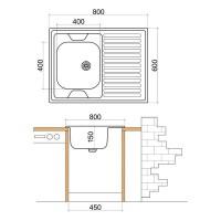 Мивка с плот и борд LIVINOKS - 800х600х150мм   2