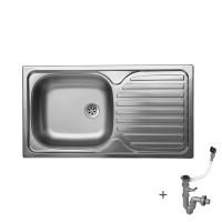 Стоманена мивка с плот 760х435х150 мм 1