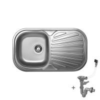 Стоманена мивка с плот 830х480х165 мм 1