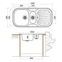 Стоманена мивка с плот и отцедник 1000х480х180 мм  2