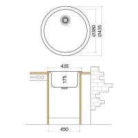 Мивка кръгла LIVINOKS 435х175мм 2
