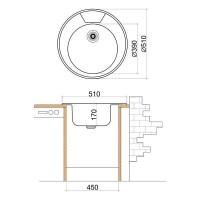 Мивка кръгла LIVINOKS 510х170мм 2