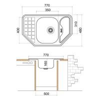 Мивка ъглова LIVINOKS 770х480х160мм 2