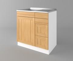 Долен кухненски шкаф с мивка - с четири работещи чекмеджета Калатея - Натурална 1