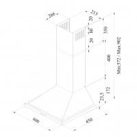 Декоративен аспиратор ONE 60 PB X /инокс/ 2