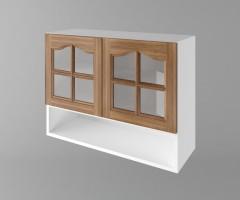Горен кухненски шкаф с две врати за стъкло и ниша Астра - Канела 1
