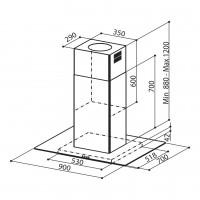 Островен аспиратор GLASSY ISOLA EG8 PB X/V A90 Еurolux 2