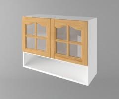 Горен кухненски шкаф с две врати за стъкло и ниша Астра - Натурална 1