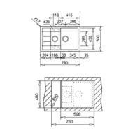 Мивка за вграждане ТЕКА от синтетичен гранит-Astral 60 B-TG 2