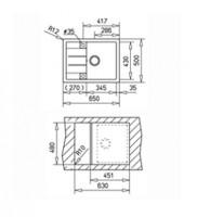 Мивка за вграждане ТЕКА от синтетичен гранит-Astral 45 B-TG 2