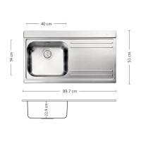 Мивка за вграждане VERSO 90.1 R/L TI 2
