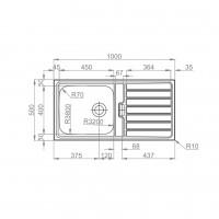 Мивка за вграждане TITAN BB 100.1 R TI LEKS 2