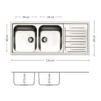 Мивка за вграждане MELODIA 116.2 TI 1