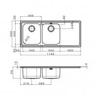 Мивка за вграждане MELODIA 116.2 TI 2