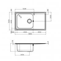 Мивка за вграждане MELODIA BB 86.1 R LEKS 2