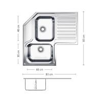 Мивка за вграждане ANGOLO PLUS 83.2 SI 2