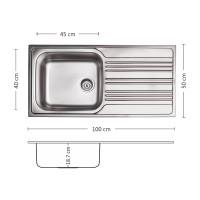 Мивка за вграждане BOWL BB 100.1 SI 1