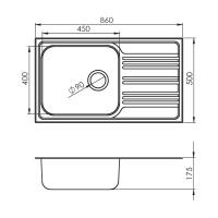 Мивка за вграждане BOWL BB 86.1 SI 2