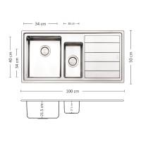 Мивка за вграждане MEGA 100.2 R/L TI 1