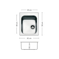 Мивка за вграждане над плот TORINO 420 SI LEKS 1