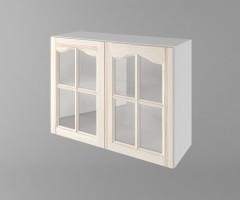 Горен кухненски шкаф с две врати за стъкло Астра - Крем 1