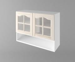 Горен кухненски шкаф с две врати за стъкло и ниша Астра - Крем 1