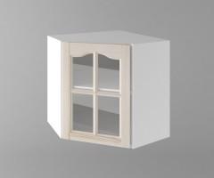 Горен кухненски шкаф за вътрешен ъгъл с една врата за стъкло б65в Астра - Крем 1