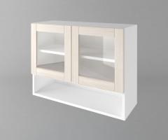 Горен кухненски шкаф с две врати за стъкло и ниша Калатея - Крем 1