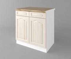 Долен кухненски шкаф с две врати и две чекмеджета Астра - Крем 1