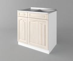 Долен кухненски шкаф с мивка с едно работещо чекмедже Астра - Крем 2