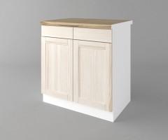 Долен кухненски шкаф с две врати и две чекмеджета Калатея - Крем 1