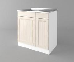 Долен кухненски шкаф с мивка с едно работещо чекмедже Калатея - Крем 1
