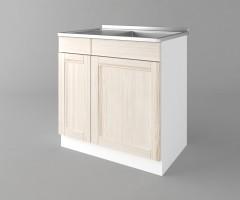 Долен кухненски шкаф с мивка с едно работещо чекмедже Калатея - Крем 2