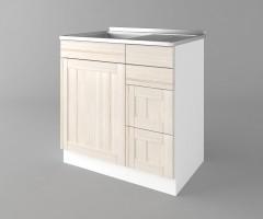 Долен кухненски шкаф с мивка с четири работещи чекмеджета Калатея - Крем 1