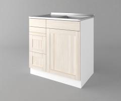 Долен кухненски шкаф с мивка с четири работещи чекмеджета Калатея - Крем 2