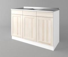Долен кухненски шкаф с мивка с две работещи чекмеджета а125 Калатея - Крем 1