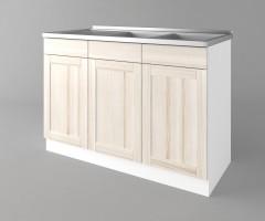 Долен кухненски шкаф с двукоритна мивка а122 Калатея - Крем 2