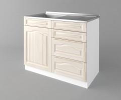 Долен кухненски шкаф с мивка с четири работещи чекмеджета Астра - Крем 1