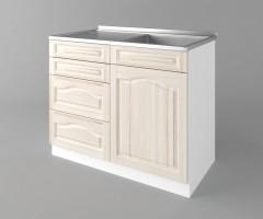 Долен кухненски шкаф с мивка с четири работещи чекмеджета Астра - Крем 2