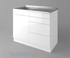 Долен кухненски шкаф с мивка - с четири работещи чекмеджета Нарцис - Гланц 1