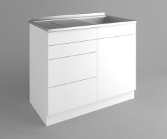 Долен кухненски шкаф с мивка - с четири работещи чекмеджета Нарцис - Гланц 2