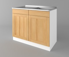 Долен кухненски шкаф с мивка - с едно работещо чекмедже Калатея - Натурална 2