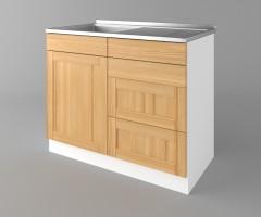 Долен кухненски шкаф с мивка - с четири работещи чекмеджета Калатея - Натурална 2