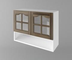 Горен кухненски шкаф с две врати за стъкло и ниша Астра - Ким 1