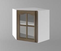 Горен кухненски шкаф за вътрешен ъгъл с една врата за стъкло Астра - Ким 1