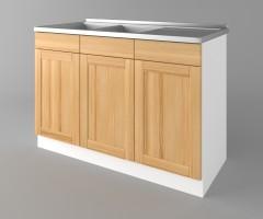 Долен кухненски шкаф с двукоритна мивка Калатея - Натурална 1