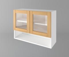 Горен кухненски шкаф с две врати за стъкло и ниша Калатея - Натурална 1