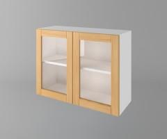 Горен кухненски шкаф с две врати за стъкло Калатея - Натурална 1